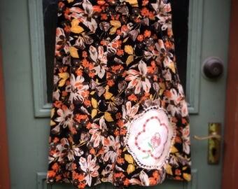 Vintage Retro Upcycled Floral Velvet Skirt Doily Embellished