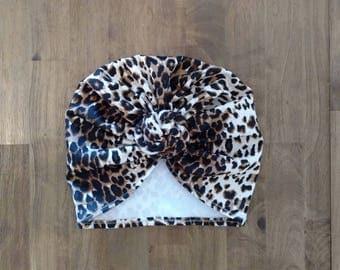 Leopard Turban - Baby Turban - Toddler Turban - Baby Headwrap - Animal Print Turban - Top Knot Turban - Adult Turban