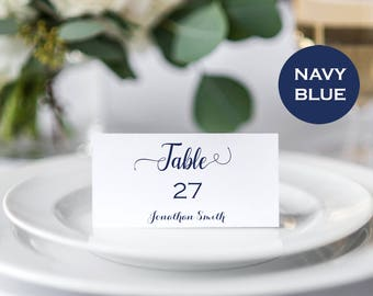 place cards wedding place cards calligraphy navy place cards place card template