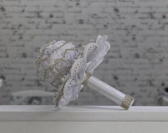 Wedding Bouquet, Brooch Bouquet, Vanguard style Bouquet, Fabric Bouquet,Wedding Fabric Flower Bouquet,White Bouquet, White Wedding Bouquet