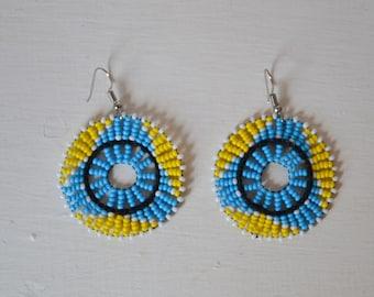 African Maasai Beaded Dangle Earrings | Tribal jewelry | Multi color Earrings | Round Earrings | Elegant Earrings | Gift for Her