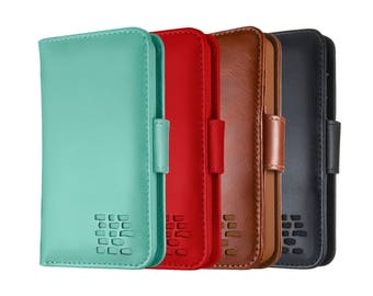 iPhone SE 5 5S Real Leather Compact Wallet Case and Cardholder in Brown, Black, Turquoise and Red with FREE SHIPPING