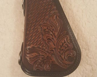 Medium Hand Tooled Leather Pistol Caddy (made to order)