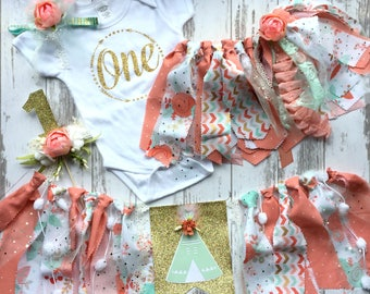 Wild One Girl| High Chair Banner| Boho Girl Birthday| Birthday In A Box| 1st Birthday| Cake Smash Outfit| Girl Birthday Outfit| Rag Tie