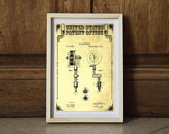 1891 First Tattoo Machine Patent, Tattoo Gun Patent, Tattooing, Tattoo Parlor Art, Tattoo Prints, Vintage Tattoo