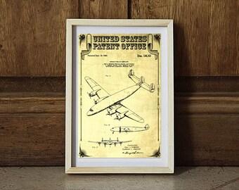 Lockheed Constellation Airplane Patent, Vintage Airplane, Airplane Print, Airplane Art, Pilot Gift, Aircraft Decor, Airplane Poster