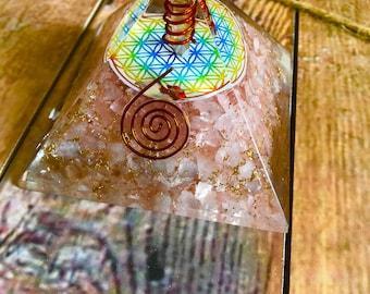 Rose Quartz Flower of Life Orgone Pyramid