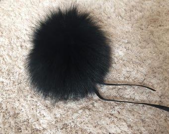 Black Genuine Raccoon Pom Pom/ Black Pom Pom/ Ready to ship