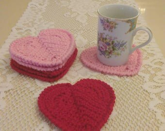 Valentine's Day Gift, Heart Shaped Coasters, Crocheted Coasters
