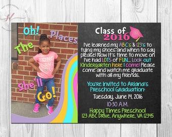 Preschool Graduation Invitation// Kids Graduation// Chalkboard Graduation Invitation// Pre-K Graduation Invitation