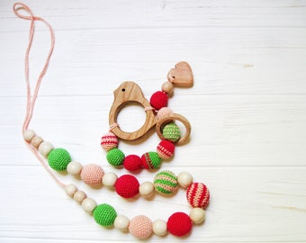 Crochet Nursing Necklace Teething Necklace Breastfeeding jewelry baby teething toy new baby crochet toy Set