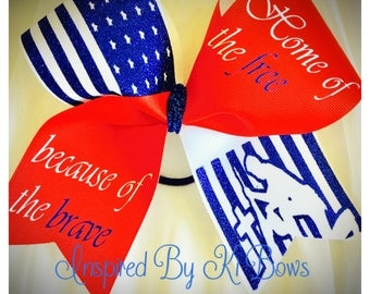 Military Memorial Day Veterans Day 4th of July Patriotic Cheer Bow