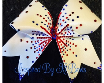 America 4th of July Red White and Blue Rhinestone Patriotic Independence Day Cheer Bow