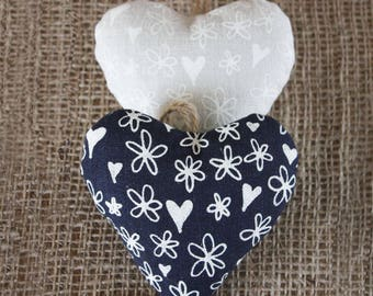 Pair of heart shaped lavender bags, hanging decorations, drawer sachets, wardrobe sachets