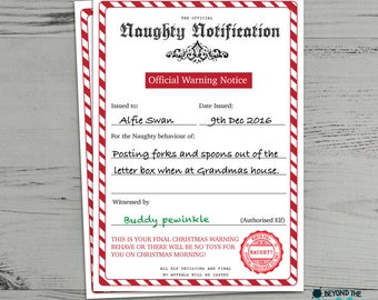 Personalised Naughty List Christmas Certificate From Santa Clause Warning Letter
