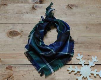 ASPEN- Square bandana, green bandana, blue bandana, plaid bandana, frayed bandana, dog accessory, dog bandana, holiday bandana