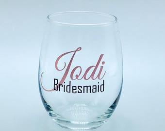 Personalized stemless wine glasses for Bridesmaid gifts