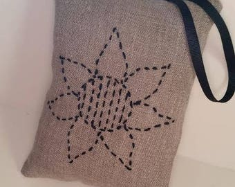 Sunflower hanging pillow ornament - Primitive embroidered flower - Rustic embroidered flower - Rustic sunflower ornament - Country cottage