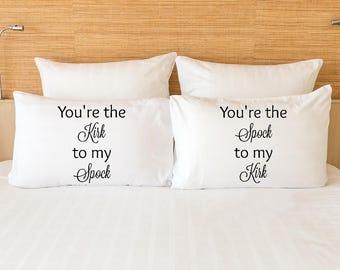Kirk and Spock Star Trek pillowcase set