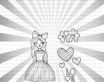 Puzzled valentines day digital stamp set