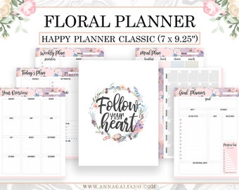 Floral Planner, Happy Planner Inserts Printable, Happy Planner Classic Refill, Daily planner, Weekly Planner, Meal Planner, Goal Planner