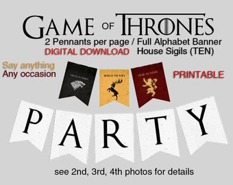 Game of Thrones Banner Full Alphabet / House Sigils (2 Pennants per page) Printable PDF Digital Download