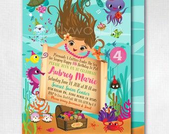 Printed Mermaid Invitations, Under the Sea Mermaid Birthday Party, Mermaid Swim Party Invitations, Girl Birthday Invitations, DI223