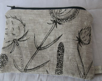 Linen purse * Linen pouch * Coin purse * Handprinted linen pouch * original design * Screen printed pouch * Kvila Design pouch