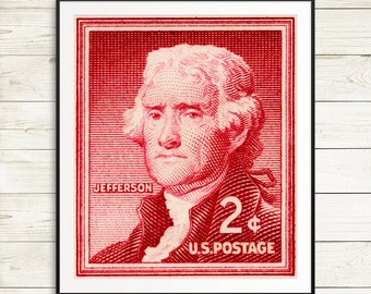 Thomas Jefferson portrait, Jefferson postage stamp, US Presidents, President's day, vintage jefferson stamp, unused postage stamps, rare art