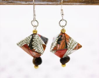 Origami red cherry and Tiger eye earrings