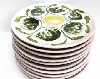 Oyster Plate French majolica Vintage, Majolica Oysters Plate Made by Saint-Amand in France 1968, dish collection, dish collector