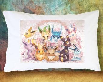 Set of 2 EEVEE Pokemon PillowCase Decoration Extra Soft & Cute Decor Bedding Pokemon Plush Leafeon Jolteon Espeon Glaceon Vaporeon Sylveon