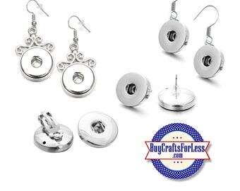 SNAP Button EARRINGS, for Interchangeable Snap Buttons, 4 STYLEs +FREE Shipping & Discounts