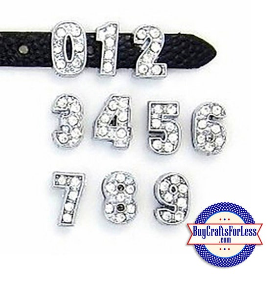 Rhinestone Silver Slider NUMBER CHARMS for 8mm slide bracelets, collars, key rings and bracelets  +FREE Shipping & Discounts*