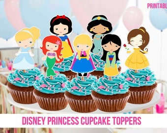 8 Disney Princess Cupcake Toppers, Printable, Instant Download, 8 Toppers, Princess Party, Instant Download