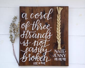 A cord of three strands sign wedding   Family Name Sign Wood, Last Name Sign Family, Wedding Prop, Wedding Sign, Last Name Wood