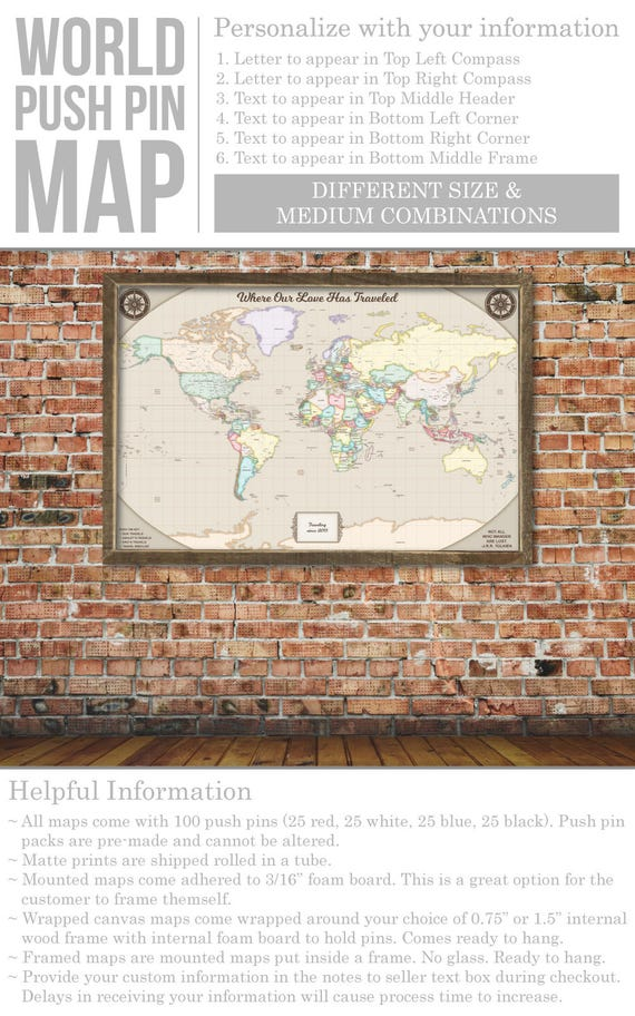 Rustic world map push pin map on canvas world travel map large like this item gumiabroncs Gallery
