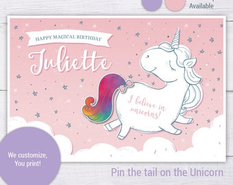 It is a graphic of Impertinent Pin the Tail on the Unicorn Printable