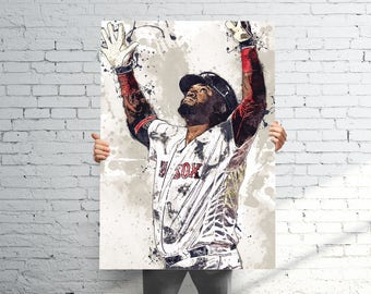 David Ortiz Boston Red Sox - Sports Art Print Poster - Watercolor Abstract Paint Splash - Kids Decor - Gifts for Men - Man Cave
