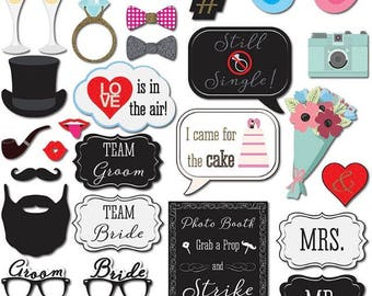 33PCS Just Married Fun Photo Booth Props, Party Props, Photo Booth Props, Party Supply, Party Decor, Photo props, Wedding Props, Wedding