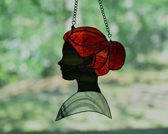 Victorian Zombie Woman in Profile: Stained Glass Sun Catcher