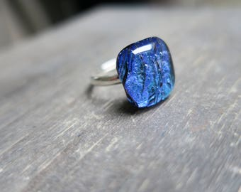 Turquoise Mermaid Dichroic Glass Ring
