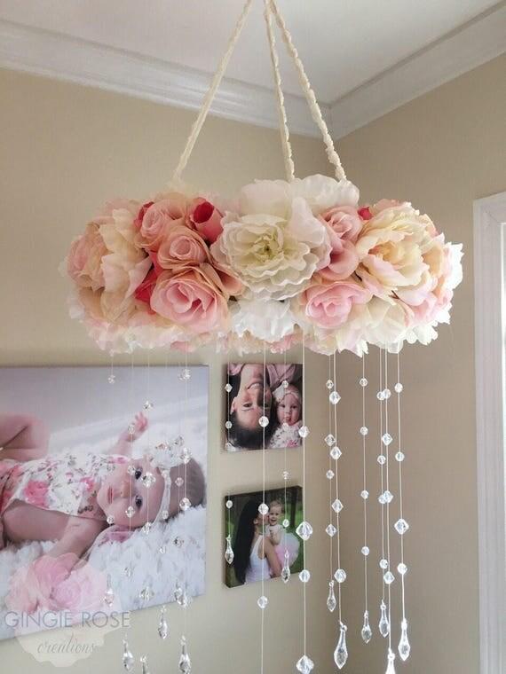 Floral Mobile Nursery Mobile Vintage Rose Wreath Crib