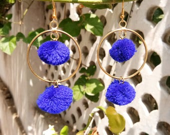 Jewellery, Earrings, Hoop Earrings, Pom Pom Earrings, Handmade Earrings, Pom Pom Hoop Earrings, Earring, Blue Color Pom Pom Hoop Earrings