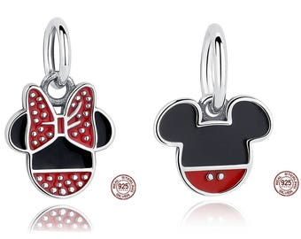 Choose between Mickey or Minnie Mouse Pendant Charm, 100% Real Stelrling Silver, Fits Famous Pandora Charm Bracelets or Snake Chain, DIY.