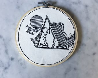 5 inch moon over mountain ~hand embroidered wall hanging, wall hanging, fiber arts, hoop art, fiber wall art, embroidery hoop art