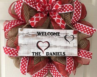 Valentine's Day  wreath, personalized Valentine's Wreath, Welcome Wreath, Valentine's Day wreath