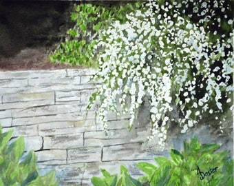 Jamie's Secret Garden; Original Floral Watercolor Painting, 8x10 inch