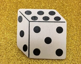 Dice Lapel Pin - Handmade Painted Wooden One-Of-A-Kind Pin - Gamer Dice Vegas Gambler Party Hat Pin - Dice Brooch