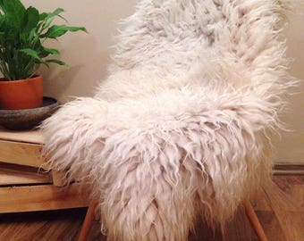 Felted Icelandic Sheepskin Rug, Icelandic Pelt, Sheepskin pelt, fur chair throw, longhair sheepskin, boho decor